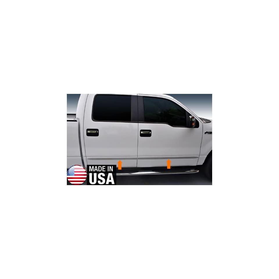Made In USA 09 2014 Ford F150 Crew Cab Rocker Panel Chrome Stainless Steel Body Side Moulding Molding Trim Cover 1 1/2 Wide 4PC