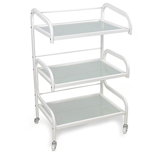 3 Tier Shelves Glass Rolling Trolley Cart Hair Barber Beauty Salon Spa Storage Equipment Organizer