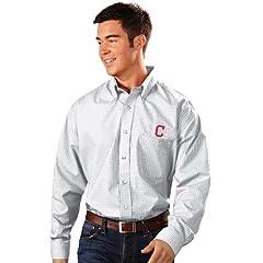 Cleveland Indians Esteem Button Down Dress Shirt (White) by Antigua