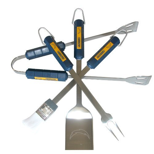 Nfl San Diego Chargers 4-Piece Barbecue Set Color: Chargers Outdoor, Home, Garden, Supply, Maintenance