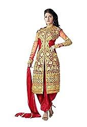 Krishna Emporia Women's Red Salwar Suit Dupatta Dress Material
