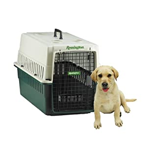 Remington Plastic Kennel, Junior, 24-Inch L by 16-Inch W by 14-Inch H, Beige/Green
