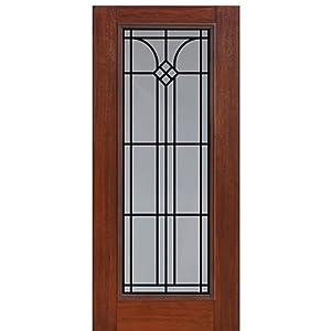Mahogany Fiberglass Door Full Lite Cantania Glasscraft