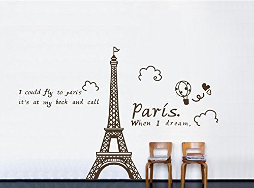 """Colorfulhall 64.96"""" X 62.99"""" Large Size Eiffel Tower Wall Art Decal Sticker When I Dream I Could Fly To Paris Wall Murals front-1089063"""