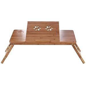 Songmics table de lit pliable en bambou pour pc ordinateur - Table de cuisine avec tiroir ...