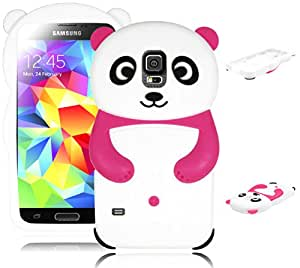 Bastex Cute Silicone Character Case for Samsung Galaxy S5 i9600 - Pink, White Panda Bear