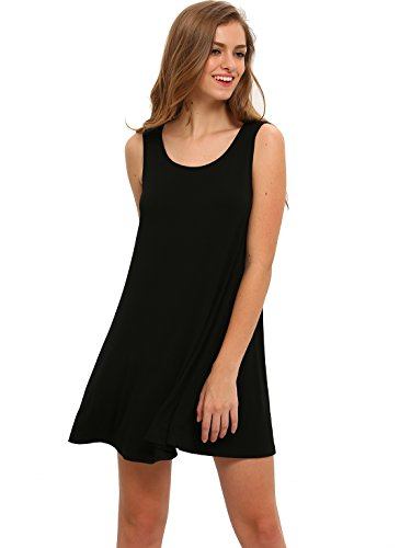 ROMWE-Womens-Casual-T-Shirt-Sleeveless-Swing-Dress-Tunic-Tank-Top-Dresses