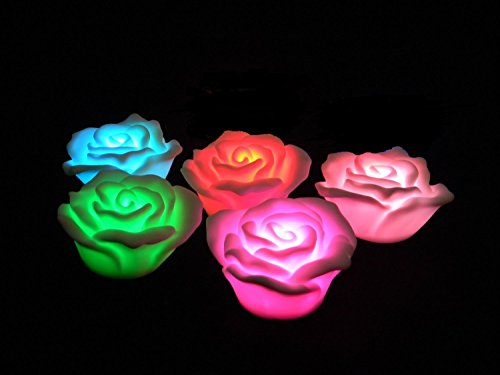 Romantic LED Rose Flower Flameless Candle. These Color Changing Lights Are Perfect for Weddings, Romantic Mood Settings, Birthdays, Bathtub Relaxation, Party Decoration. They Are a Safe Alternative to the Standard Wax Candle. No Smoke or Messy Wax to Clean Up. Use as a Night Light.