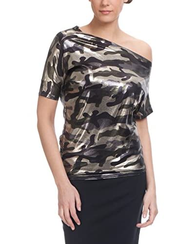 Tantra Bluse Camouflage With Irregular Neck khaki