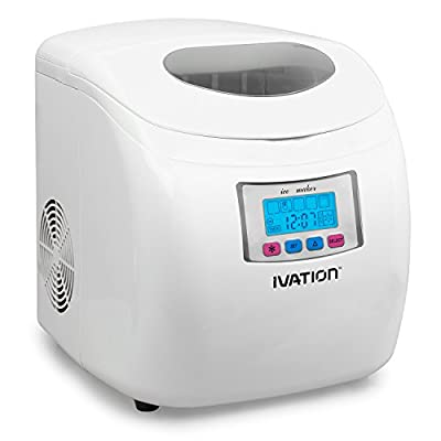 Ivation Portable High Capacity Household Ice Maker w/LCD Display - 2.8-Liter Water Reservoir, 3 Selectable Cube Sizes - Yield of up to 26.5 Pounds of Ice Daily