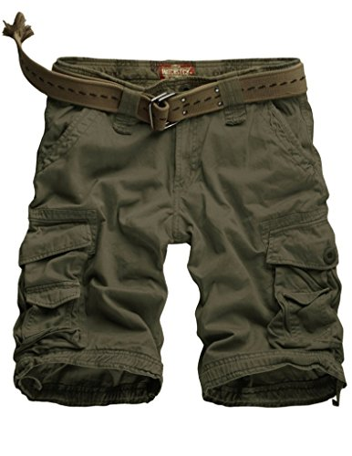 Match Mens Twill Cargo Shorts Quick-dry Summer Shorts S3612(3612 Army green,34W x Regular)