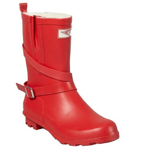 Women's Puddles Rubber Mid-Rise Rain Boots / Wrap Around Low Heel Wellies