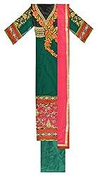 Sainex Designer Salwars Women's Georgette Unstiched Dress Material (Green)