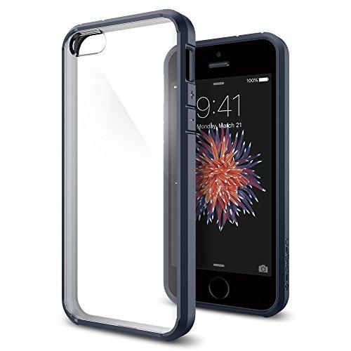 【Spigen】 iPhone SE ケース, ウルトラ・ハイブリッド [ 米軍MIL規格取得 落下 衝撃吸収 ] [ クリア バンパー ] アイフォン se / 5s / 5 用 カバー (メタル・スレート) …