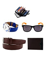 Combo Of Elligator Brown PU Leather Belt,Wallet,Cardholder, Lotto Sunglass & Watch