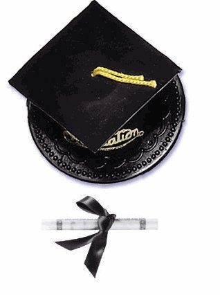 Black Graduation Hat & Diploma Cake Topper Decoration Kit
