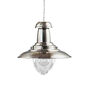 Fisherman Nautical Ceiling Pendant Light Satin Silver 1 x 60 Watt by Lights4Living