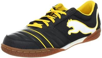 Puma Men's Powercat 4.12 Sala Soccer Shoe,Black/White/Team Yellow,11.5 D US