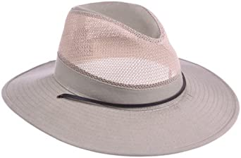 8567337d60756 Dorfman Pacific Men s 1 Piece Brushed Twill Mesh Safari Hat With Chin Cord
