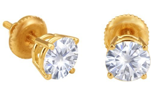 Spectacular! 14k Yellow-gold Pair 6.00mm each (1.5 CT TW) Round Moissanite Stud Earings by Vicky K Designs