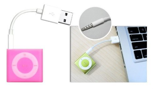 Maxhood 10.5cm Length 3.5mm 2 in 1 USB Charger and SYNC Data Cable for Apple iPod Shuffle 3rd / 4th / 5th Generation new usb data sync charger transfer cable 3 5mm jack adapter charging cord for ipod shuffle 3rd 4th gen