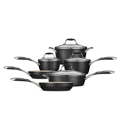 Tramontina 80110/525Ds 10-Piece Gourmet Ceramica 01 Deluxe Cookware Set, Metallic Black
