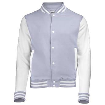 AWDis Hoods Kids Varsity Letterman jacket Heather Grey / White 1213