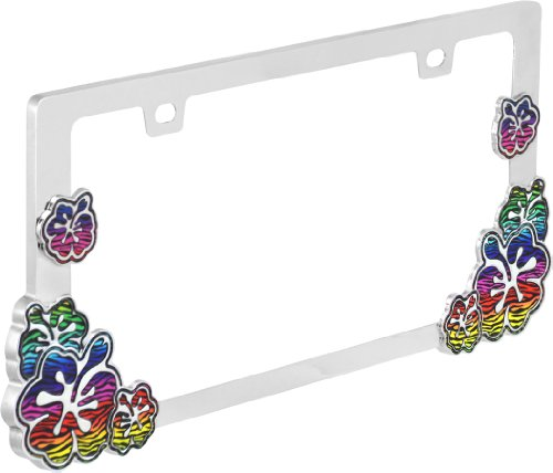 Bell Automotive 22-1-46532-8 'Rainbow Zebra Hibiscus Flower' License Plate Frame (Hibiscus License Plate Frame compare prices)