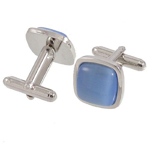 Allegra K Pair Metal Frame Blue Plastic Bead Mens Shirt Sleeve Button Cufflinks