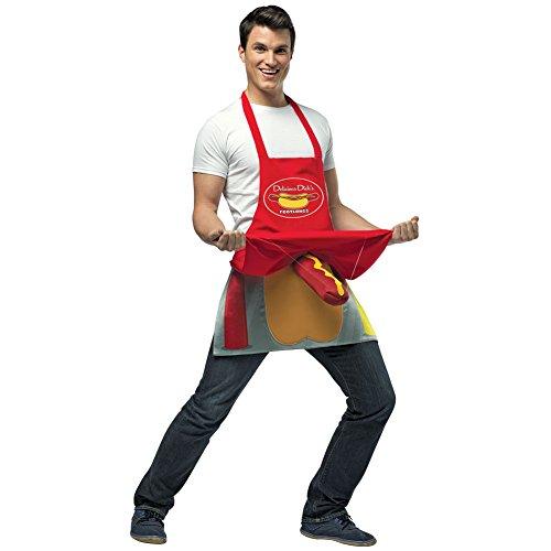 [Hot Dog Vendor Costume Mens Foot-Long Wiener Adult Novelty Halloween Costume] (Hot Dog Costume For Adults)