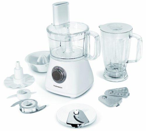 Thomson THFP06092 Multifunktions-Küchenmaschine mit Mixer / Saftpresse / Knet- und Emulsionsscheibe / Zerkleinerer / 2 Geschwindigkeiten und Pulse / weiß