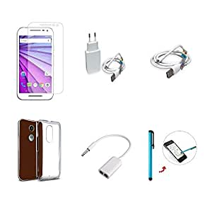 High Quality Combo of Moto G3 Temper Glass + 1 Amp USB Charger + USB Data Cab...