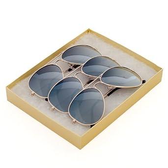 FULL MIRROR Mirrored Metal Aviator Sunglasses (3-Pack (Gold) + GB1)