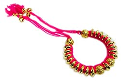 Hot Pink Cotton Dori Bangle Lumba Rakhi For Bhabhi / Women