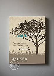MuralMax - Personalized Family Tree & Lovebirds, Stretched Canvas Wall Art, Wedding & Memorable Anniversary Gifts, Unique Wall Decor, Color, Cocoa - Canvas Size 12 x 16 - 30-DAY
