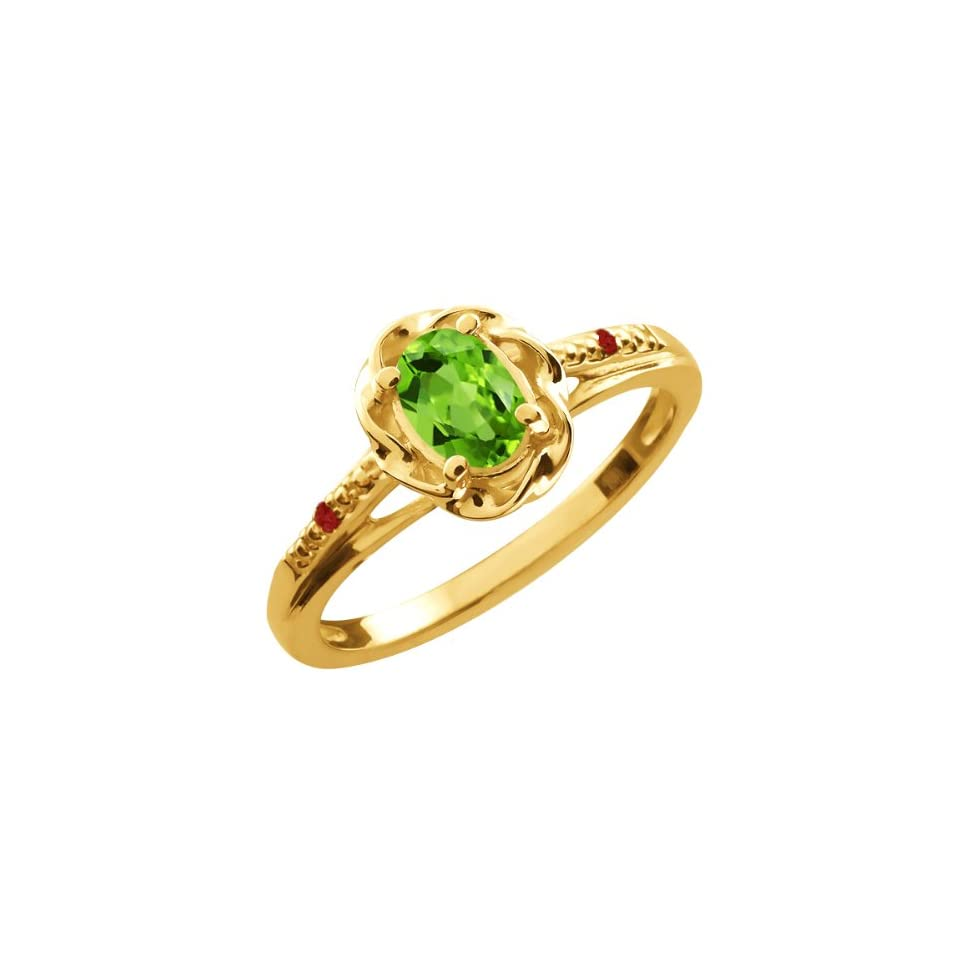 0.52 Ct Oval Green Peridot Red Garnet 18K Yellow Gold Ring
