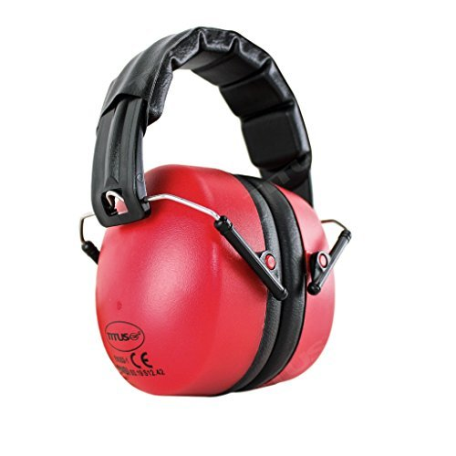 TITUS High Decibel Safety Earmuffs (Standard, Leatherette - Red) (Color: Leatherette - Red, Tamaño: Standard)