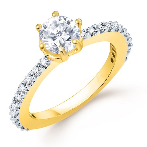 Sukkhi Marvellous Gold and Rhodium Plated CZ Ring Size 11 For Women (yellow)