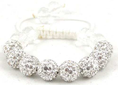 08-Ball Children Kids Girls Boys Petites Teen White Bead Shamballa Bracelet with White Crystals on White String