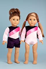 Little Gymnast - Pink and purple gymnastic leotard with shorts - Clothes for American Girl Dolls