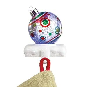 """7"""" LED Lighted Festive Dot Christmas Ball Ornament Glitterdome Stocking Hanger"""