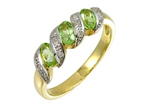 Bague Femme - Or jaune (9 carats) 2.3 Gr - Peridot - Diamant 0.75 Cts - T 48