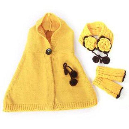 Ragazzi e ragazze cappello mantello Guanti Protezione per le orecchie three-piece set Baby Scialle Invernale giallo yellow