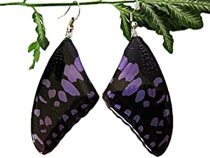 Vintage Nature Purple Real Butterfly Wing Earrings