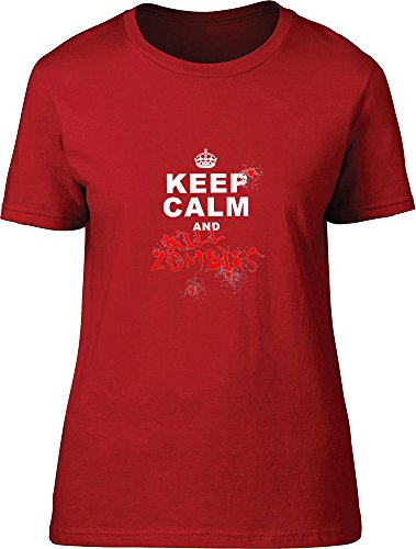 Keep Calm And kill zombies Ladies T Shirt Red XL 44/46