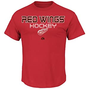 NHL Detroit Red Wings Men's Wings 5 Hole Short Sleeve Shirt, Red, Large