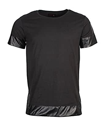 Sixth june - Tee Shirt Empiècement Simili Cuir Noir 1310-067at COULEUR - NOIR, Tailles vetements - L