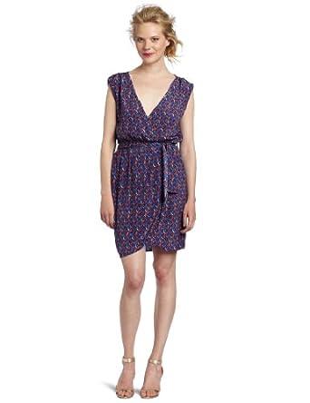 D.E.P.T. Women's Graphic Flow Wrap Dress, Amparo Blue, Large