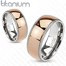 buy Tir-0006 Grooved Solid Titanium Edges With Rose Gold Ip Dome Center Band Ring; Comes With Free Gift Box (13)