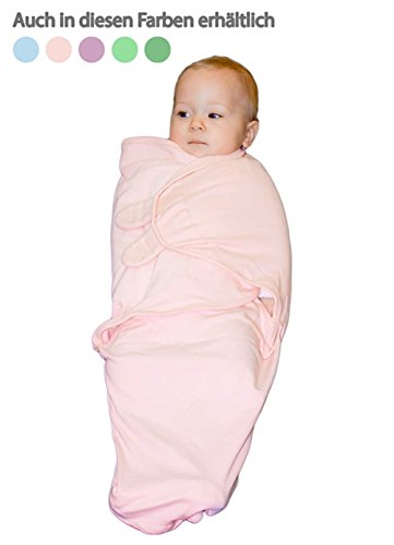 BEBEMOOI SleepSack Micro-Fleece 100% COTTON adjustable swaddle wrap,Baby Pink,Small